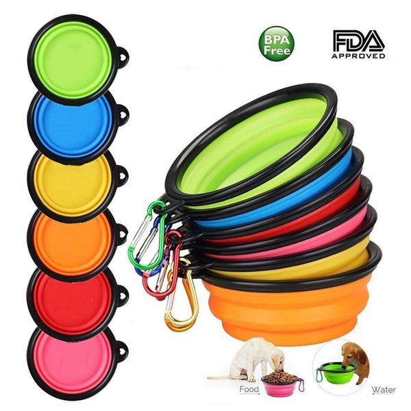 Folding Portable Silicone Dog Travel Food Water Bowl, Pet Bowls, Furbabeez, [tag]