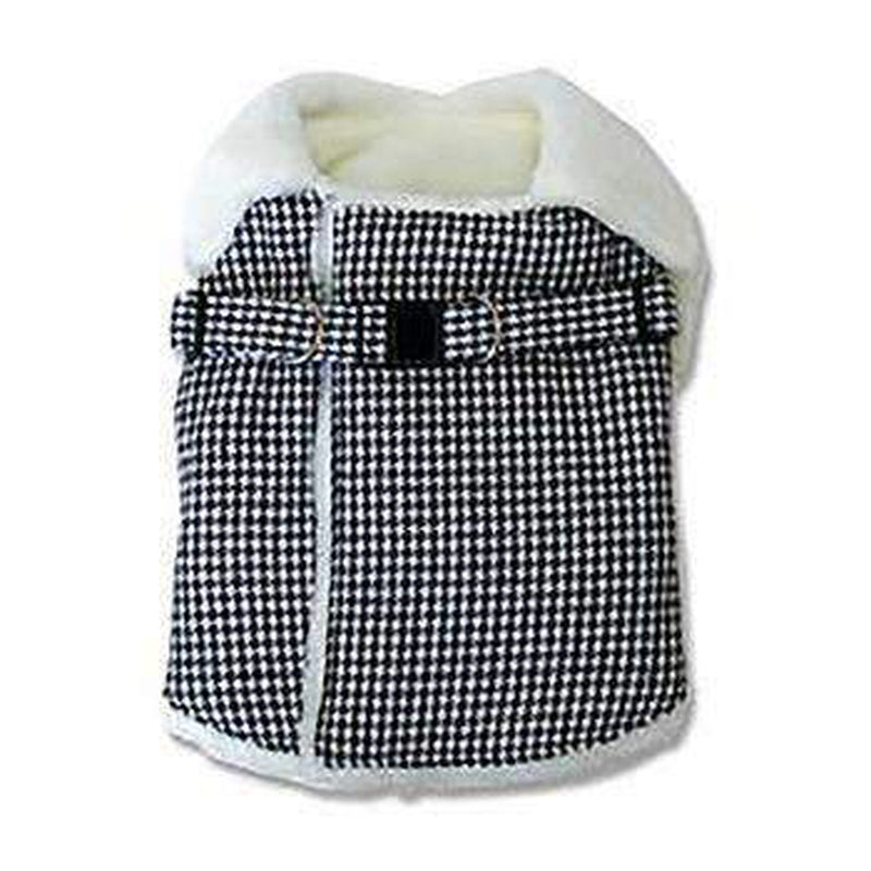 Furry Houndstooth Dog Harness Coat - Black, Pet Clothes, Furbabeez, [tag]