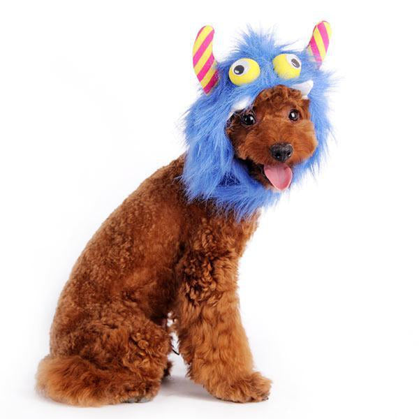 Furry Monster Dog Hat - Blue Pet Accessories DOGO
