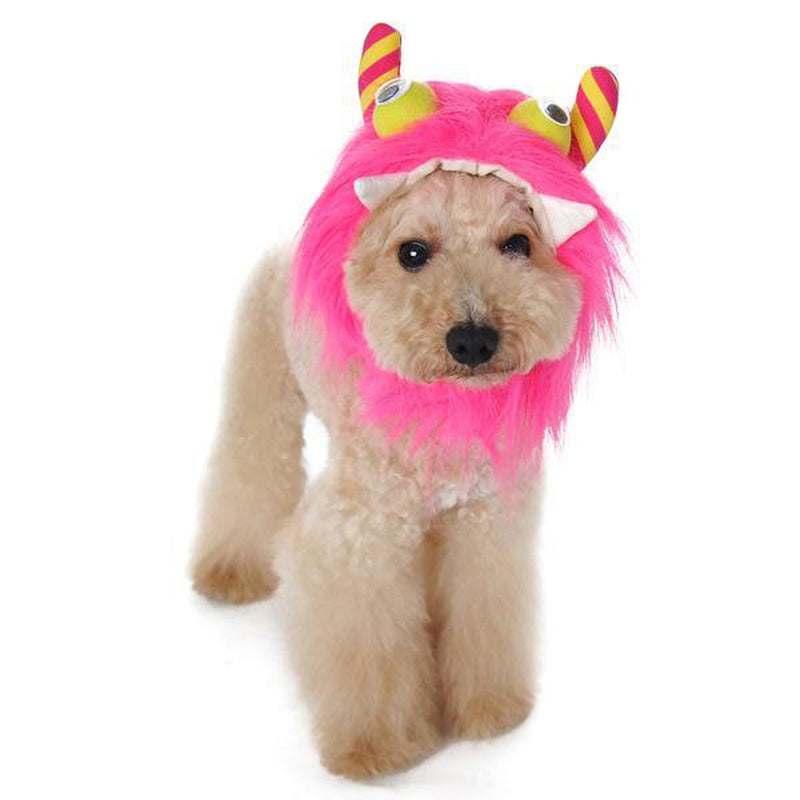 Furry Monster Dog Hat - Pink Pet Accessories DOGO