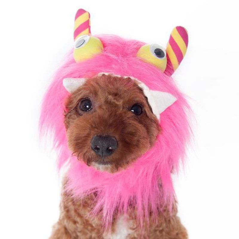 Furry Monster Dog Hat - Pink, Pet Accessories, Furbabeez, [tag]