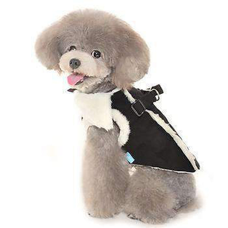 Furry Winter Harness Coat - Black, Pet Clothes, Furbabeez, [tag]