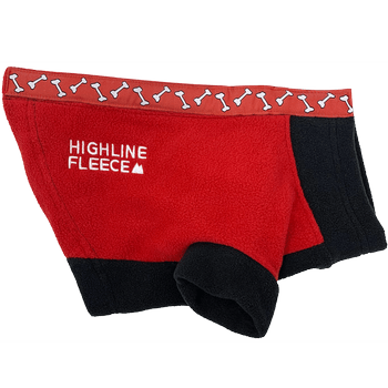 Highline Fleece Dog Coat - Red and Black with Rolling Bones Pet Clothes Doggie Design