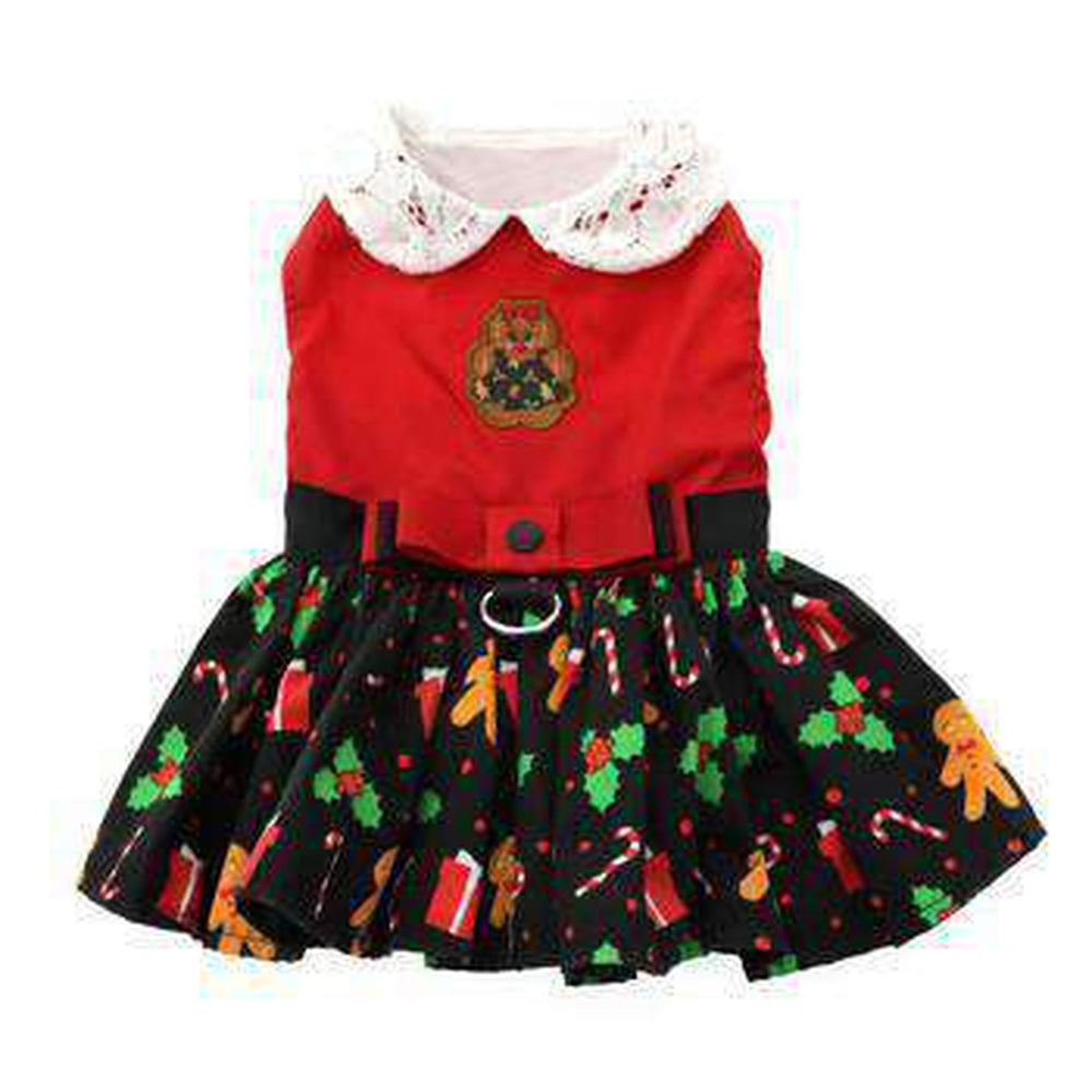 Holiday Dog Harness Dress - Gingerbread, Pet Clothes, Furbabeez, [tag]