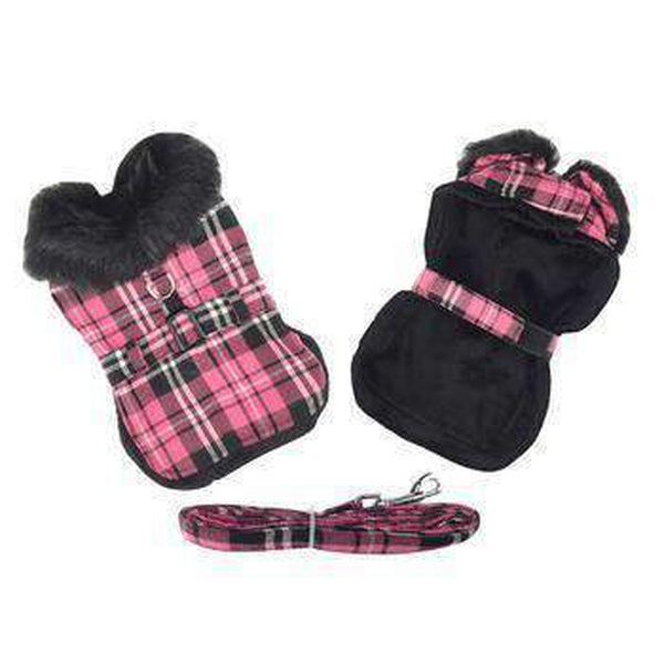 Plaid Fur-Trimmed Dog Harness Coat - Hot Pink and Black Pet Clothes Doggie Design