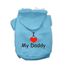 I LOVE MY DADDY Dog Hoodie Pet Clothes Mirage Blue XS