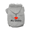 I LOVE MY DADDY Dog Hoodie Pet Clothes Mirage Gray XS