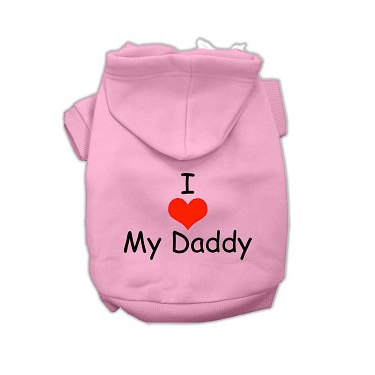 I LOVE MY DADDY Dog Hoodie Pet Clothes Mirage Pink XS