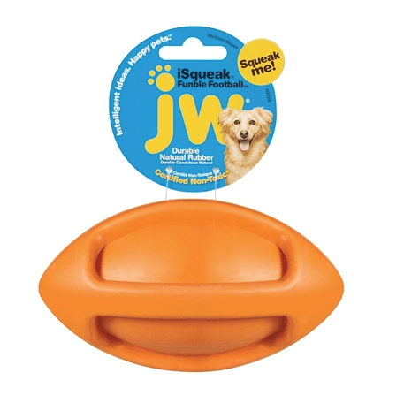 JW Pet ISqueak Funble Football Pet Toys JW Pet Orange
