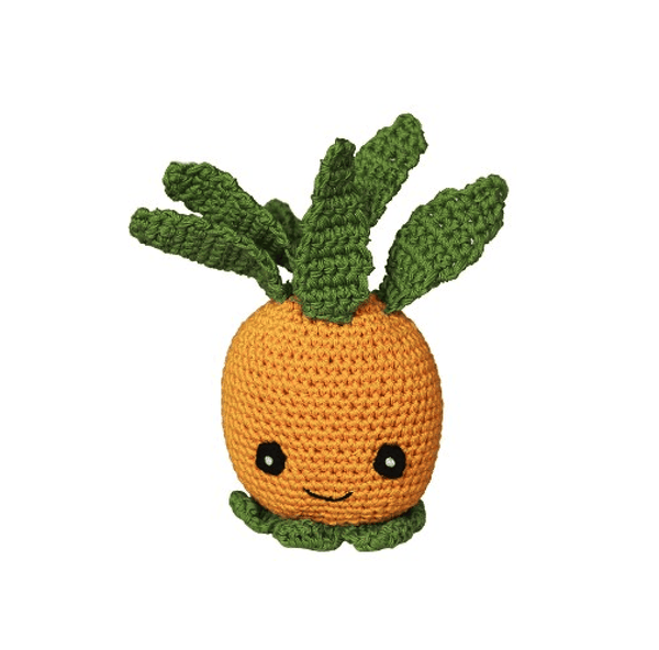 Knit Knacks Paulie the Pineapple Organic Cotton Small Dog Toy, Pet Toys, Furbabeez, [tag]