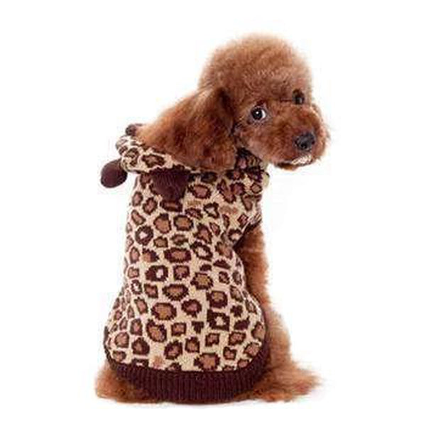 Leopard Hooded Dog Sweater by Dogo, Pet Clothes, Furbabeez, [tag]