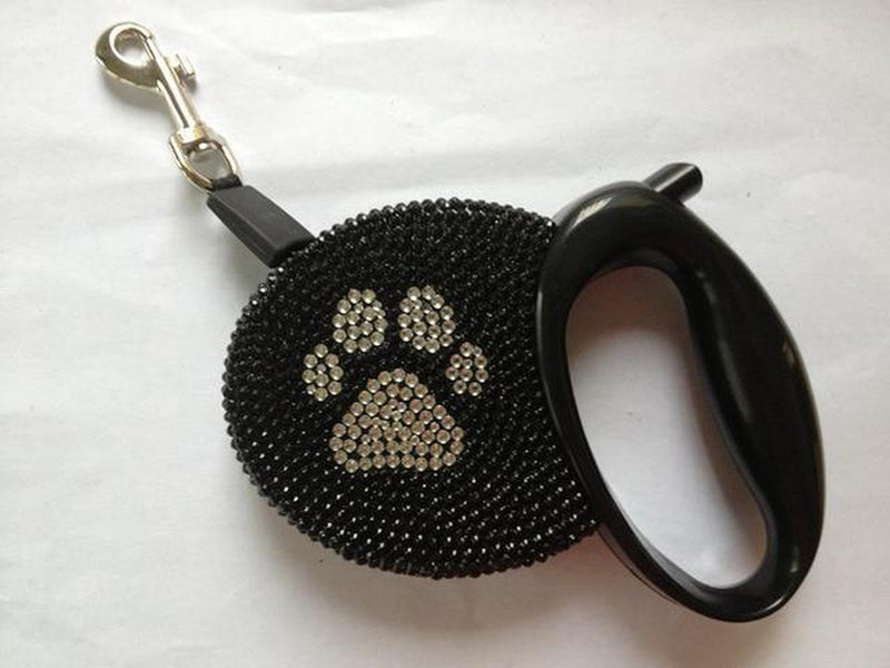 Luxury Rhinestone Bling Retractable Dog Leash, Collars and Leads, Furbabeez, [tag]