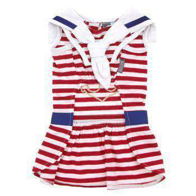 Nautical Stripe Dog Dress, Pet Clothes, Furbabeez, [tag]