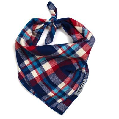 Navy Plaid Tie Bandana Pet Accessories Worthy Dog
