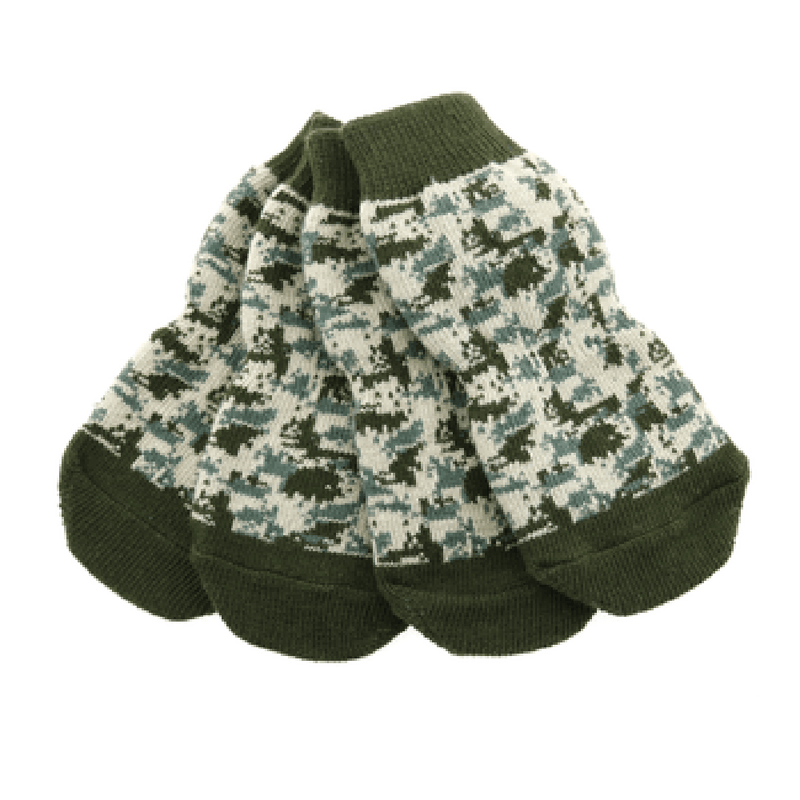 Non-Skid Dog Socks - Green Camo Pet Clothes Doggie Design