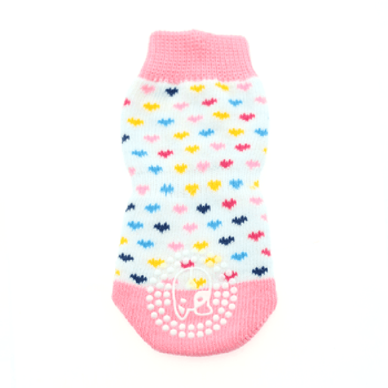 Non-Skid Dog Socks - Pink and White Hearts, Pet Clothes, Furbabeez, [tag]