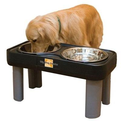 Ourpet's Right Height Big Dog Feeder Black 16 inch Pet Bowls OurPet's