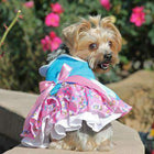 Pink and Blue Plumeria Dog Harness Dress Pet Clothes Doggie Design