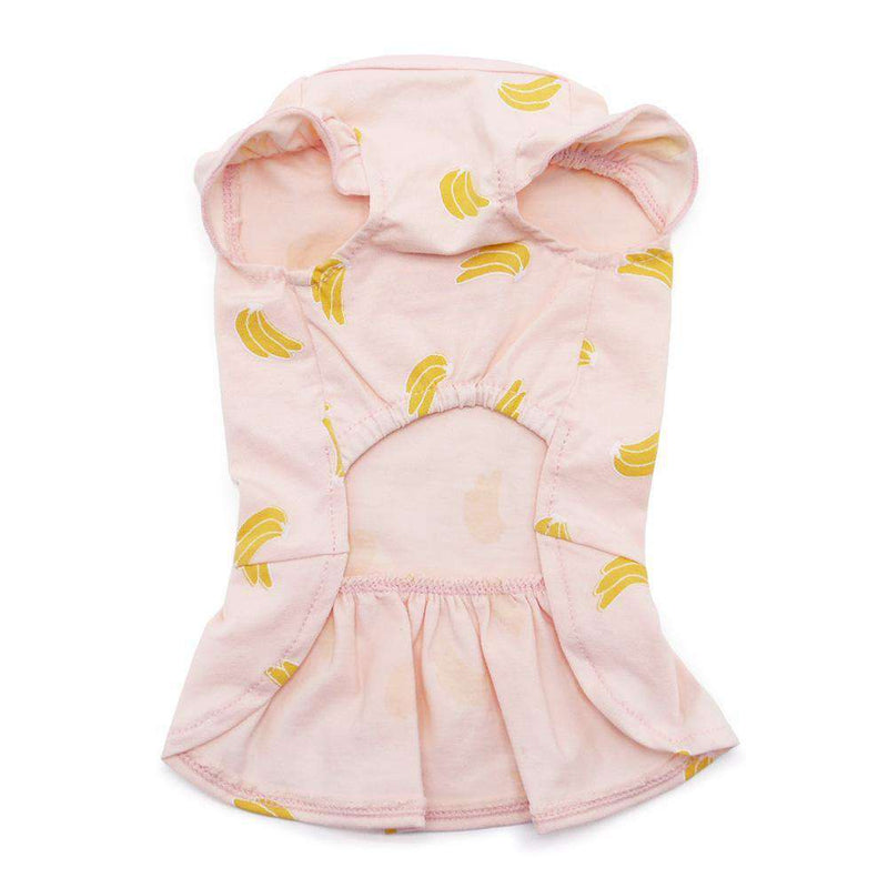 Pink Banana Print Dog Dress, Pet Clothes, Furbabeez, [tag]
