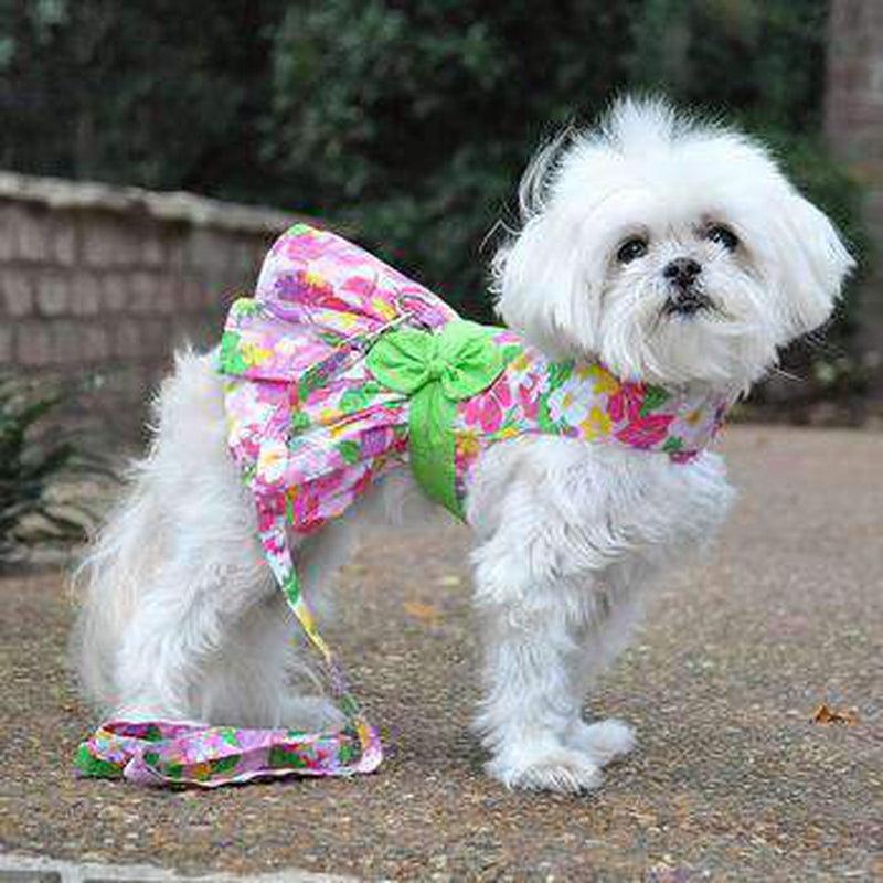 Pink Hawaiian Floral Dog Harness Dress with Leash, Pet Clothes, Furbabeez, [tag]