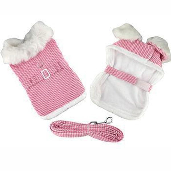 Pink Houndstooth and White Fur Collar Harness Coat, Pet Clothes, Furbabeez, [tag]