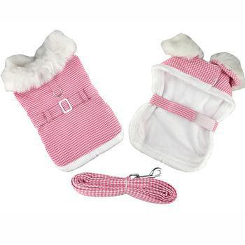 Pink Houndstooth and White Fur Collar Harness Coat Pet Clothes Doggie Design