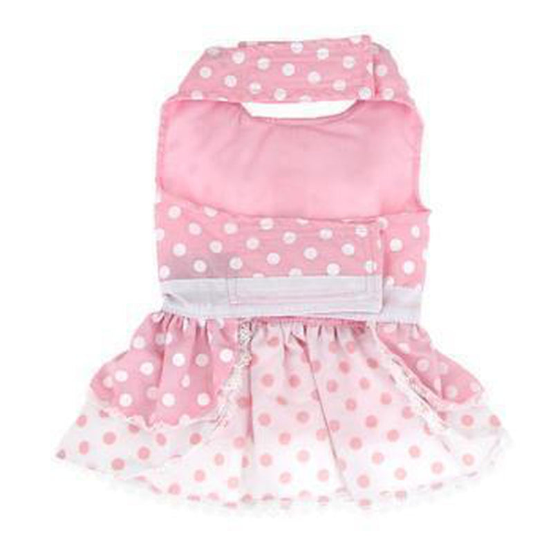 Pink Polka Dot and Lace Designer Dog Harness Dress, Pet Clothes, Furbabeez, [tag]