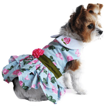 Pink Rose Harness Dress with Matching Leash Pet Clothes Doggie Design