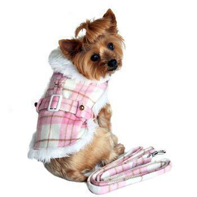 Plaid Fur-Trimmed Dog Harness Coat - Pink and White, Pet Clothes, Furbabeez, [tag]