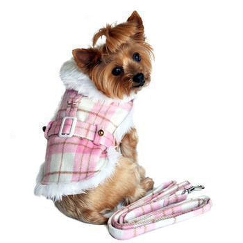 Plaid Fur-Trimmed Dog Harness Coat - Pink and White Pet Clothes Doggie Design