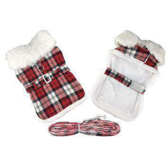 Plaid Fur-Trimmed Dog Harness Coat - Red and White