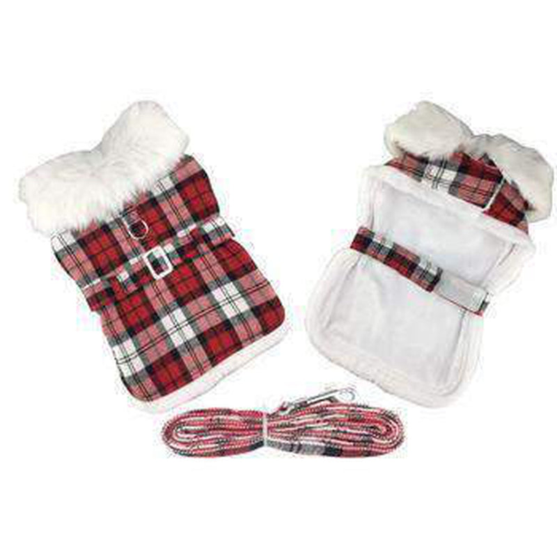 Plaid Fur-Trimmed Dog Harness Coat - Red and White, Pet Clothes, Furbabeez, [tag]