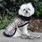 Plaid Fur-Trimmed Dog Harness Coat - Camel and Black Pet Clothes Doggie Design