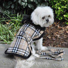 Plaid Fur-Trimmed Dog Harness Coat - Camel and Black, Pet Clothes, Furbabeez, [tag]