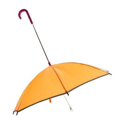 Pour-Protection Umbrella With Reflective Lining And Leash Holder Pet Clothes Puppia Orange