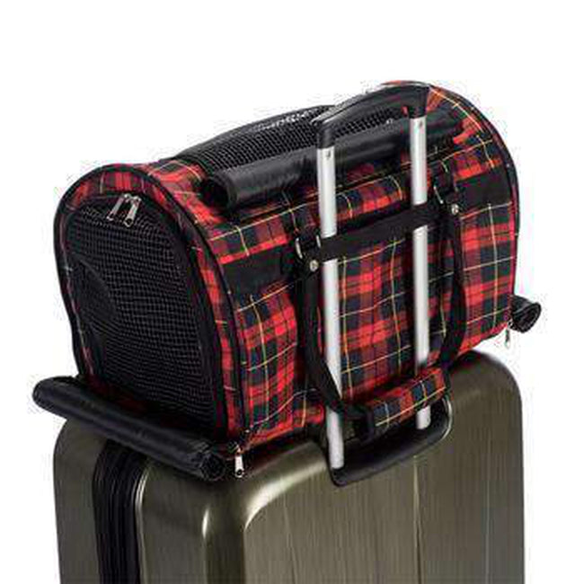 Prefer Pets Hideaway Duffel Dog Carrier - Red Plaid Pet Accessories Prefer Pets