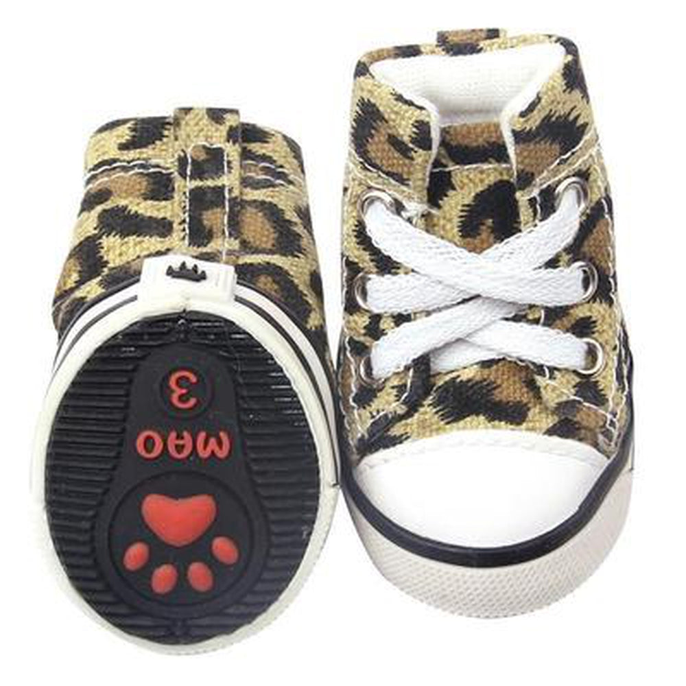 Converse Dog Shoes - Leopard Print Denim, Pet Clothes, Furbabeez, [tag]