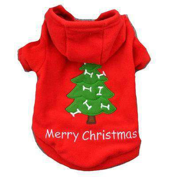 Red Christmas Tree Dog Hoodie Pet Clothes Oberlo