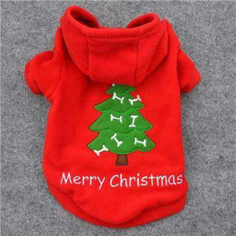 Red Christmas Tree Dog Hoodie, Pet Clothes, Furbabeez, [tag]