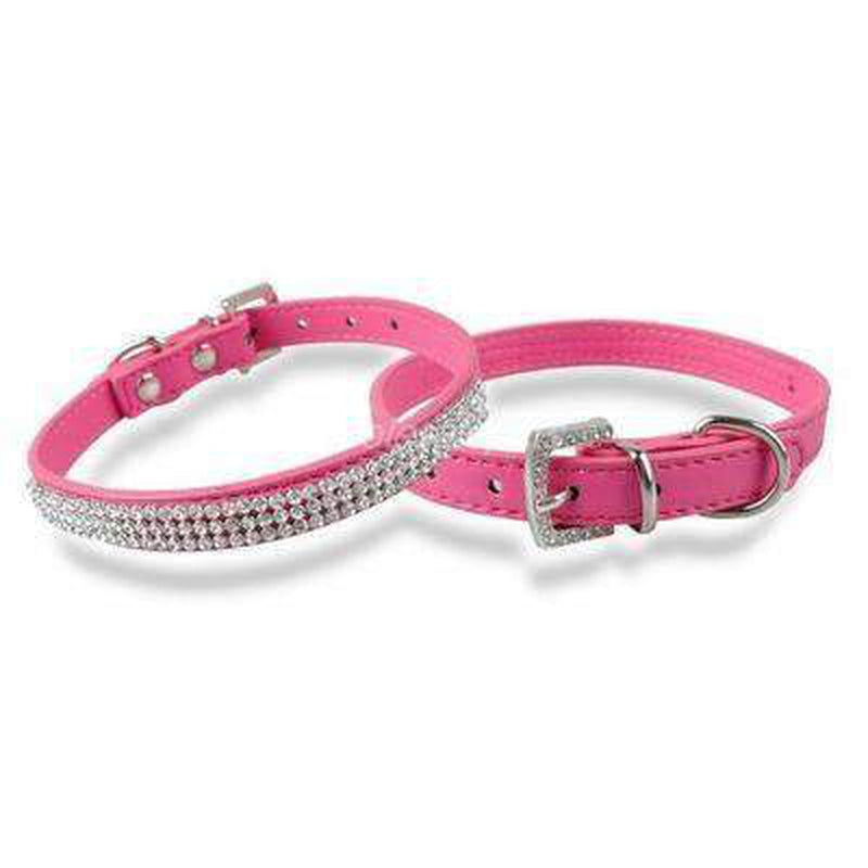 Rhinestone Pet Collar Collars and Leads Oberlo Raspberry Small