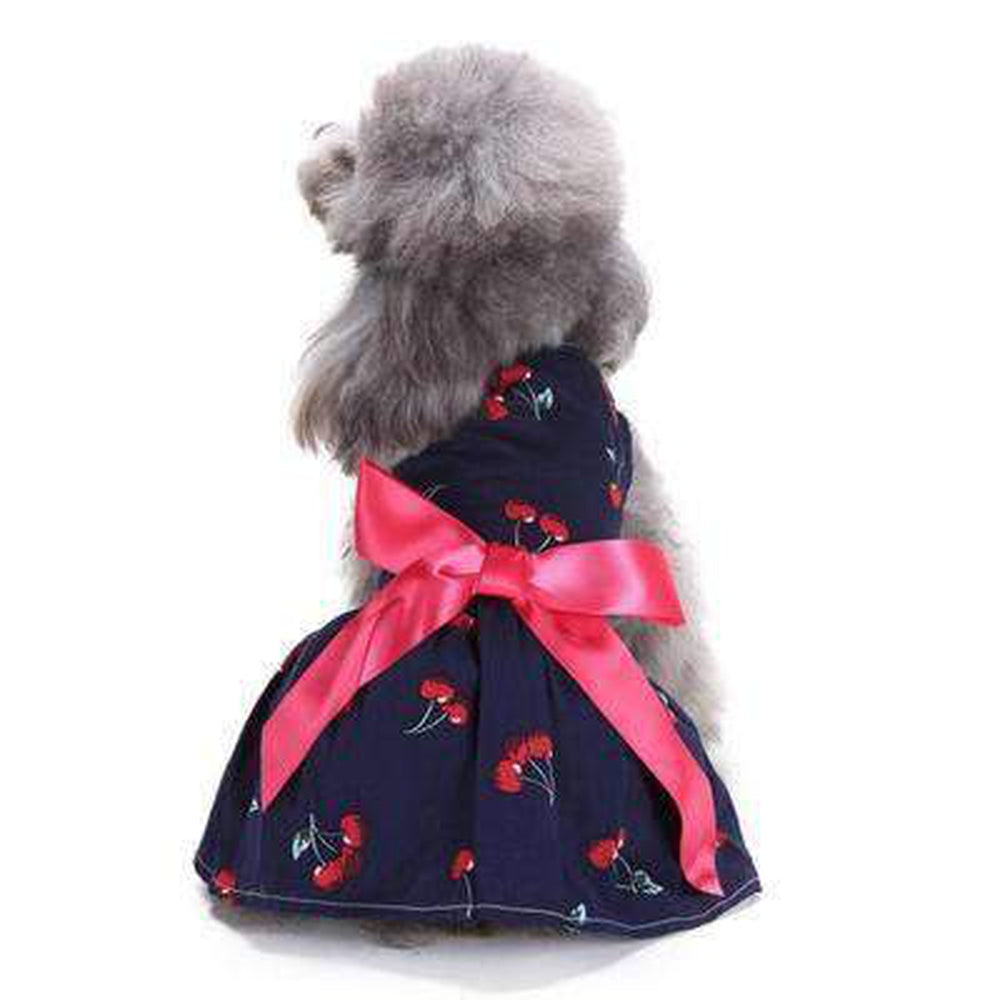 Girl Denim Dress with Bow, Pet Clothes, Furbabeez, [tag]
