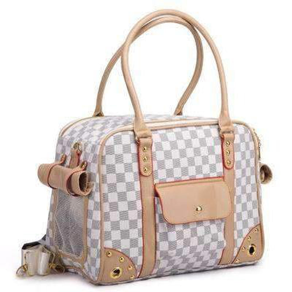 White Checkered Dog Carrier, Pet Accessories, Furbabeez, [tag]