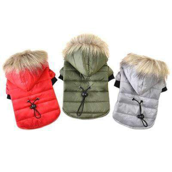 Pawstrip Dog Coat with Fur Hood Pet Clothes Oberlo
