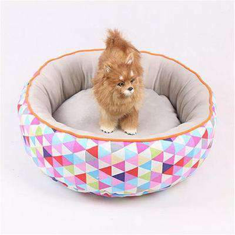Colorful Round Winter Dog Bed, Pet Bed, Furbabeez, [tag]