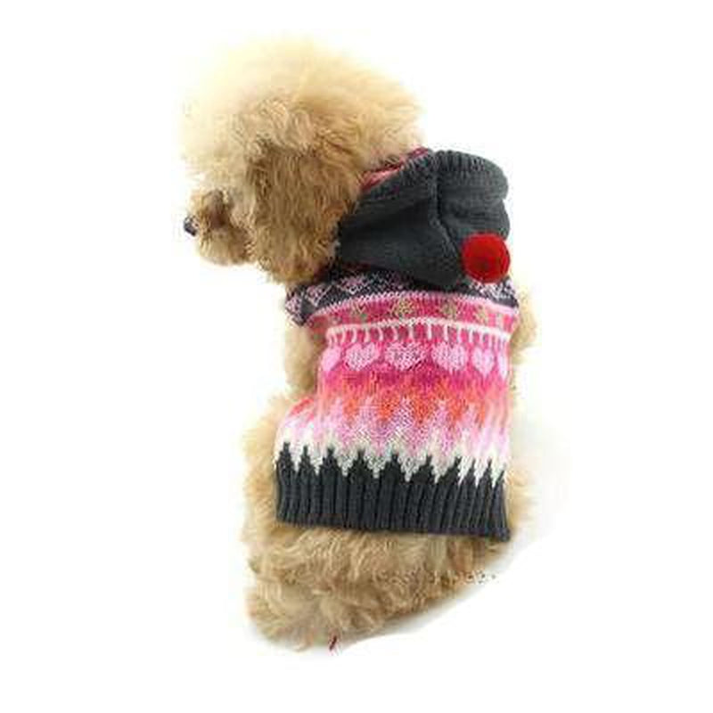 Christmas Snowflake Sweater with Red Pom Hood, Pet Clothes, Furbabeez, [tag]