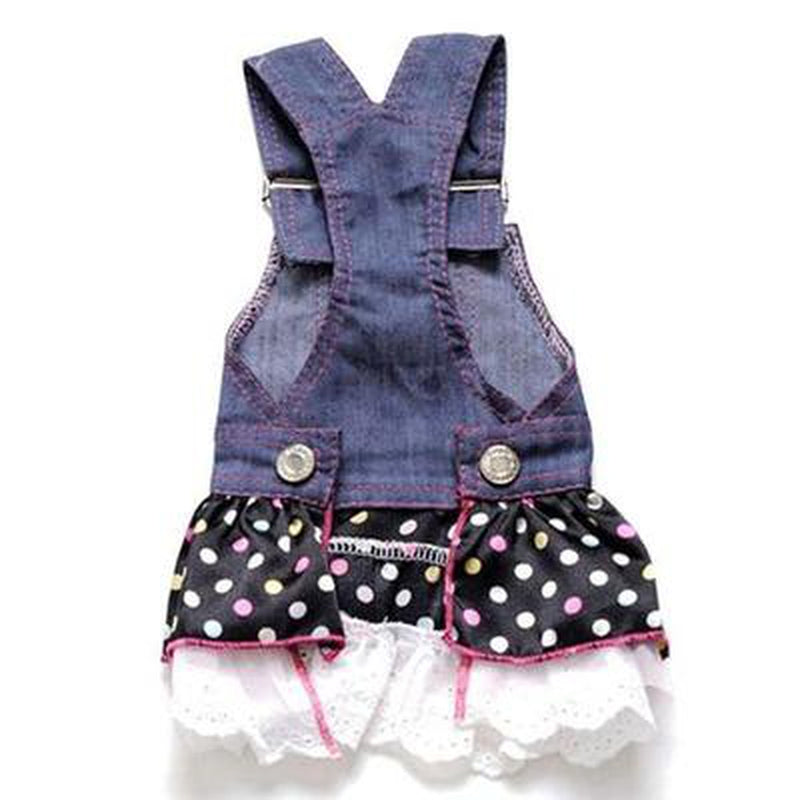 Denim Dog Overalls Dress, Pet Clothes, Furbabeez, [tag]