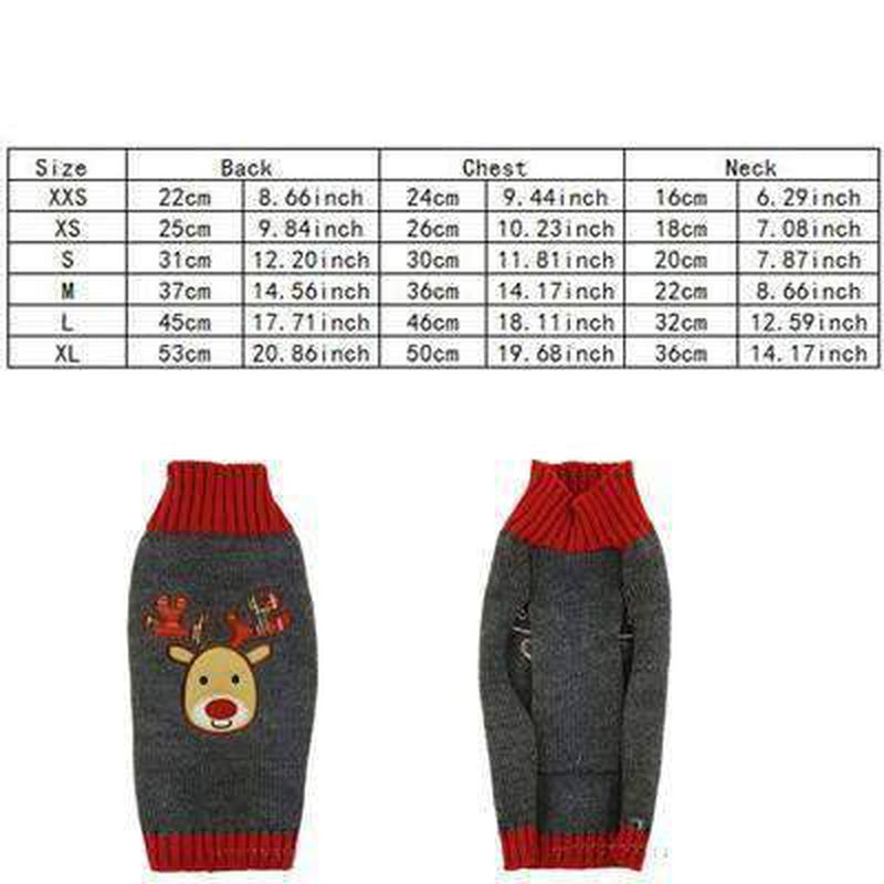 Gray Rudolph Dog Christmas Sweater, Pet Clothes, Furbabeez, [tag]