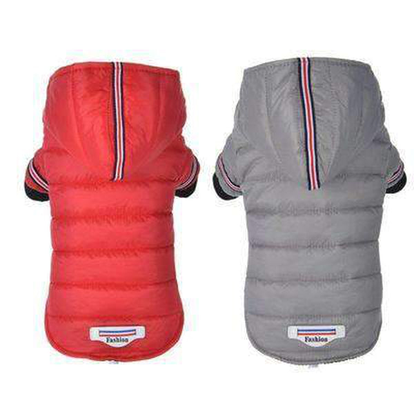 Waterproof Puffer Coat with Stripe trim, Pet Clothes, Furbabeez, [tag]