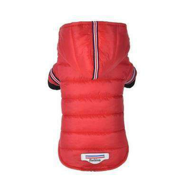 Waterproof Puffer Coat with Stripe trim Pet Clothes Oberlo Red L