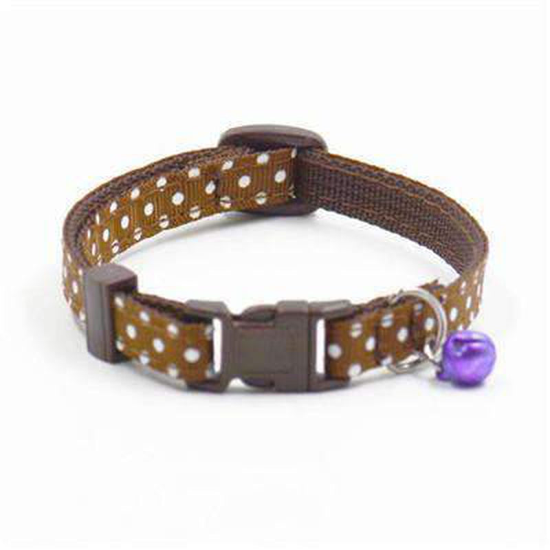 Polka Dot Cat Collar with Bell Collars and Leads Oberlo US Brown
